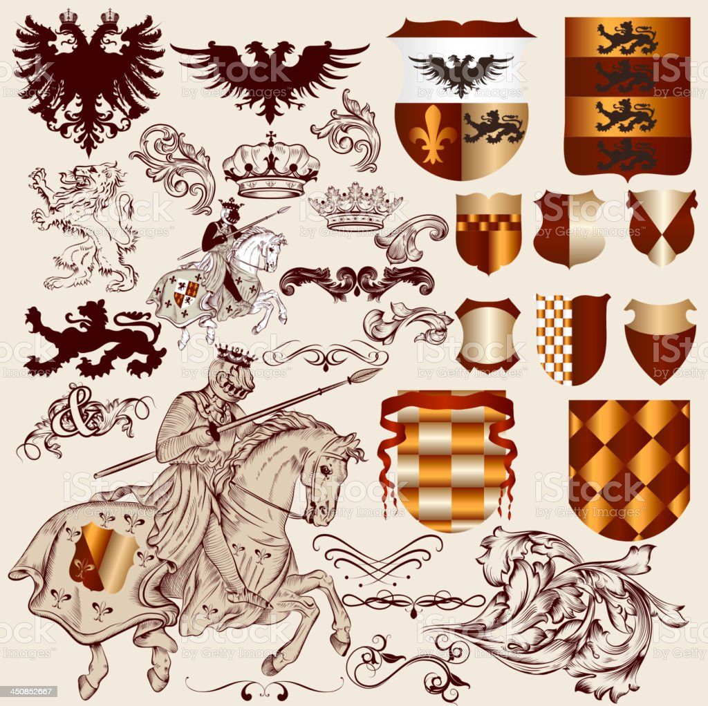 Collection of vector heraldic elements for design vector art illustration