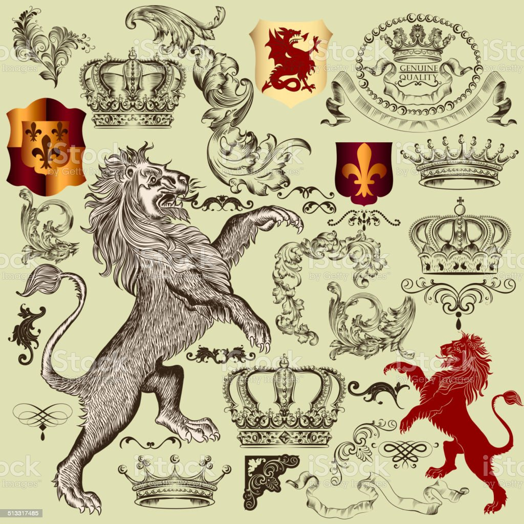 Collection of vector heraldic elements in vintage style vector art illustration