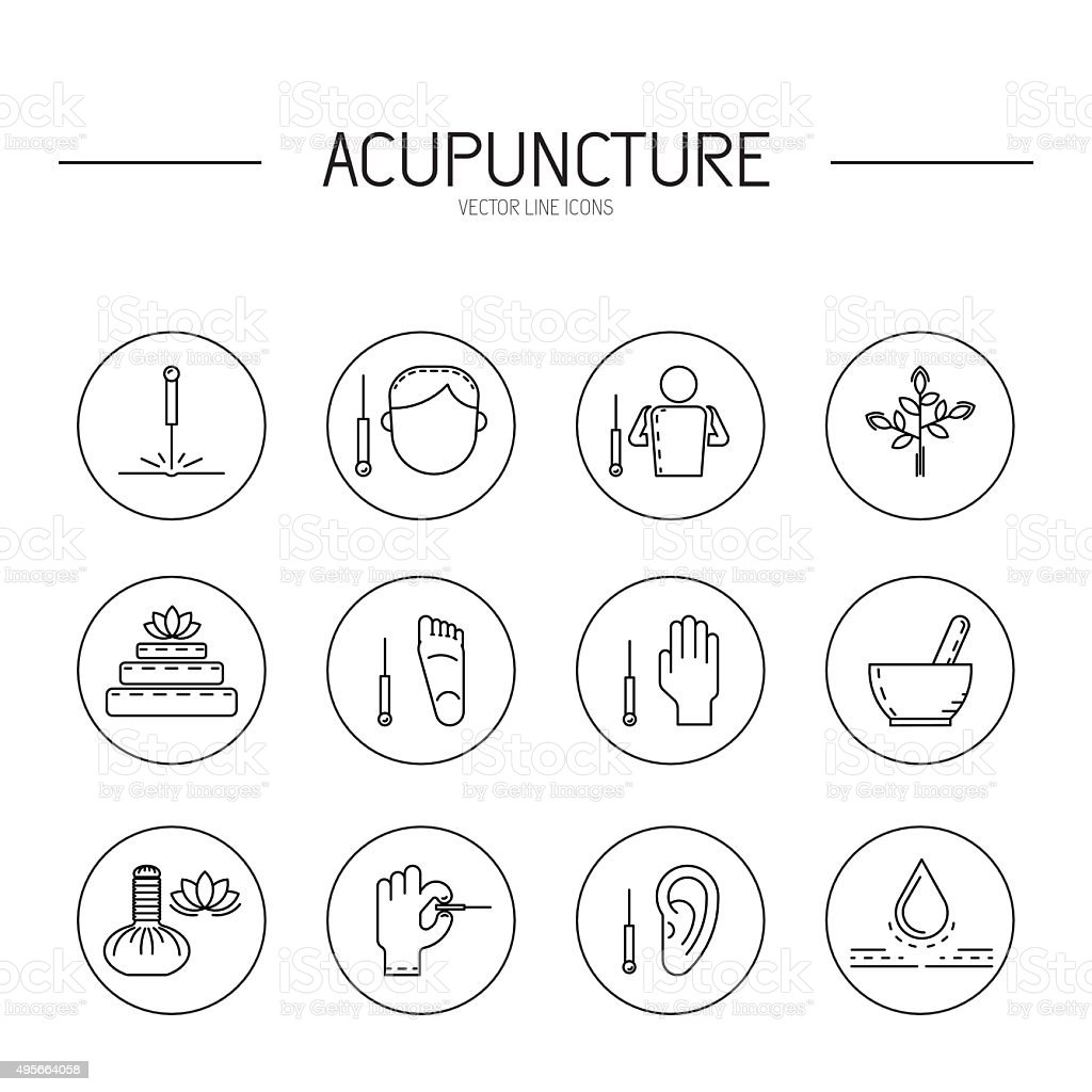 Collection of vector icons elements for acupuncture and massage, TCM. vector art illustration