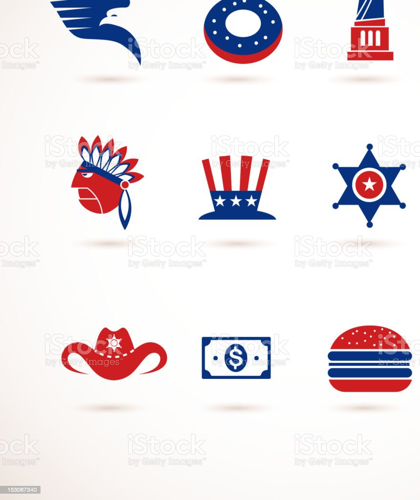 USA - collection of vector icons stock photo