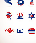 USA - collection of vector icons