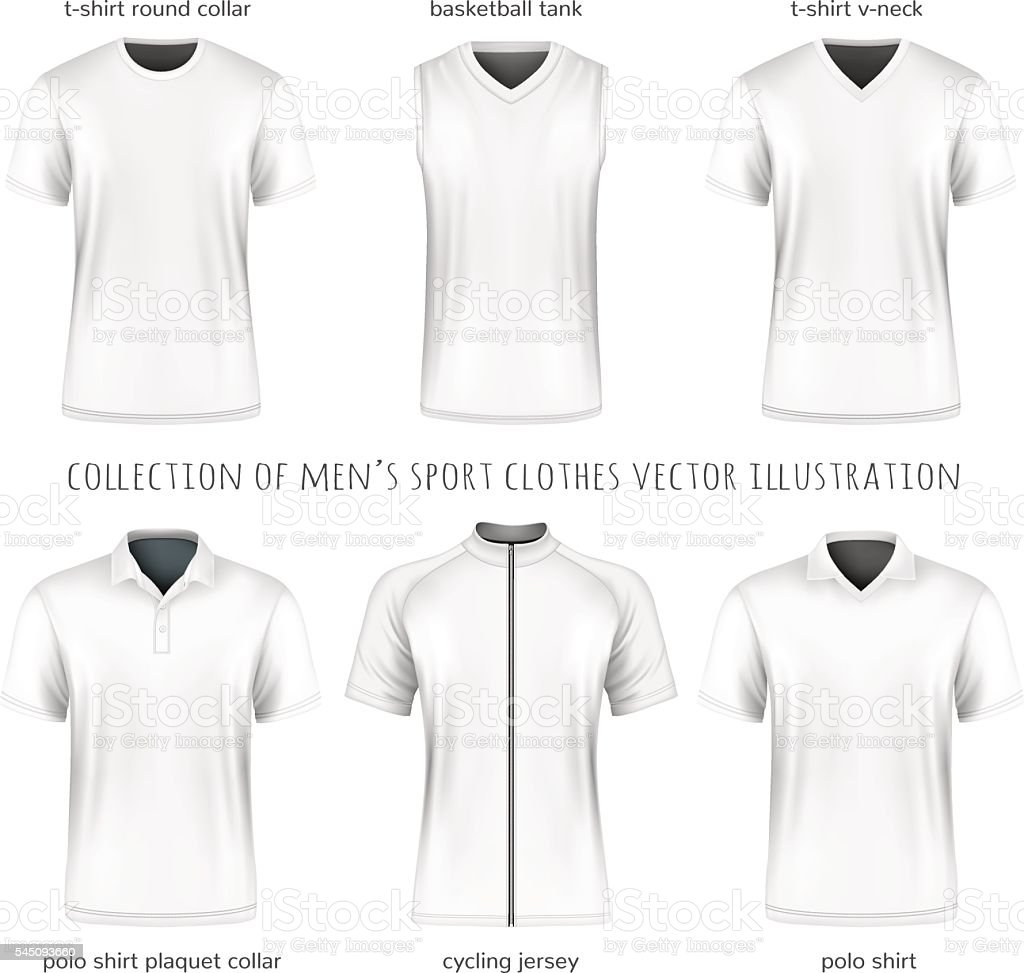 Collection of vector men sport clothes vector art illustration