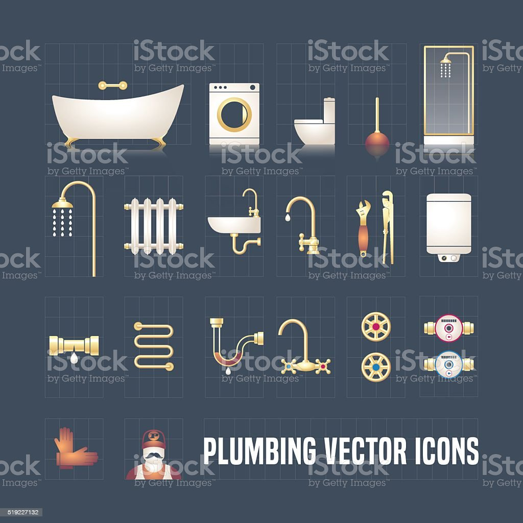Collection of vector plumbing icons in set vector art illustration