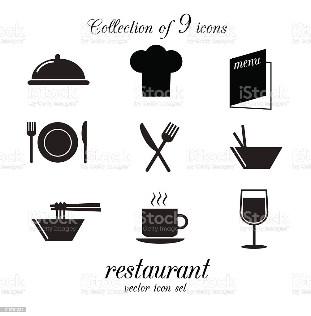 Collection of vector restaurant icons. vector art illustration