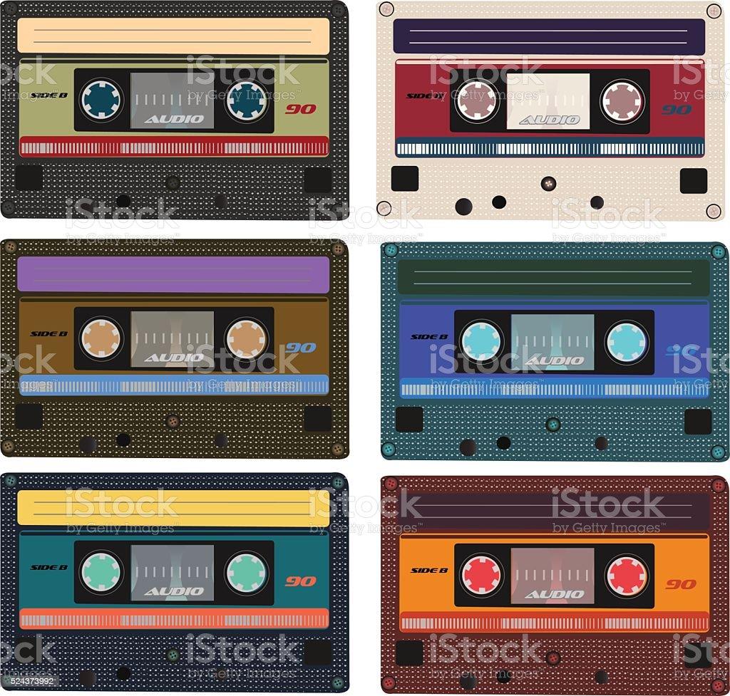 Collection of vector retro audio cassettes. vector art illustration