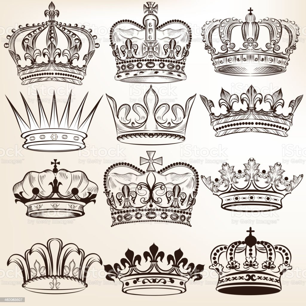 Collection of vector royal crowns for heraldic design vector art illustration