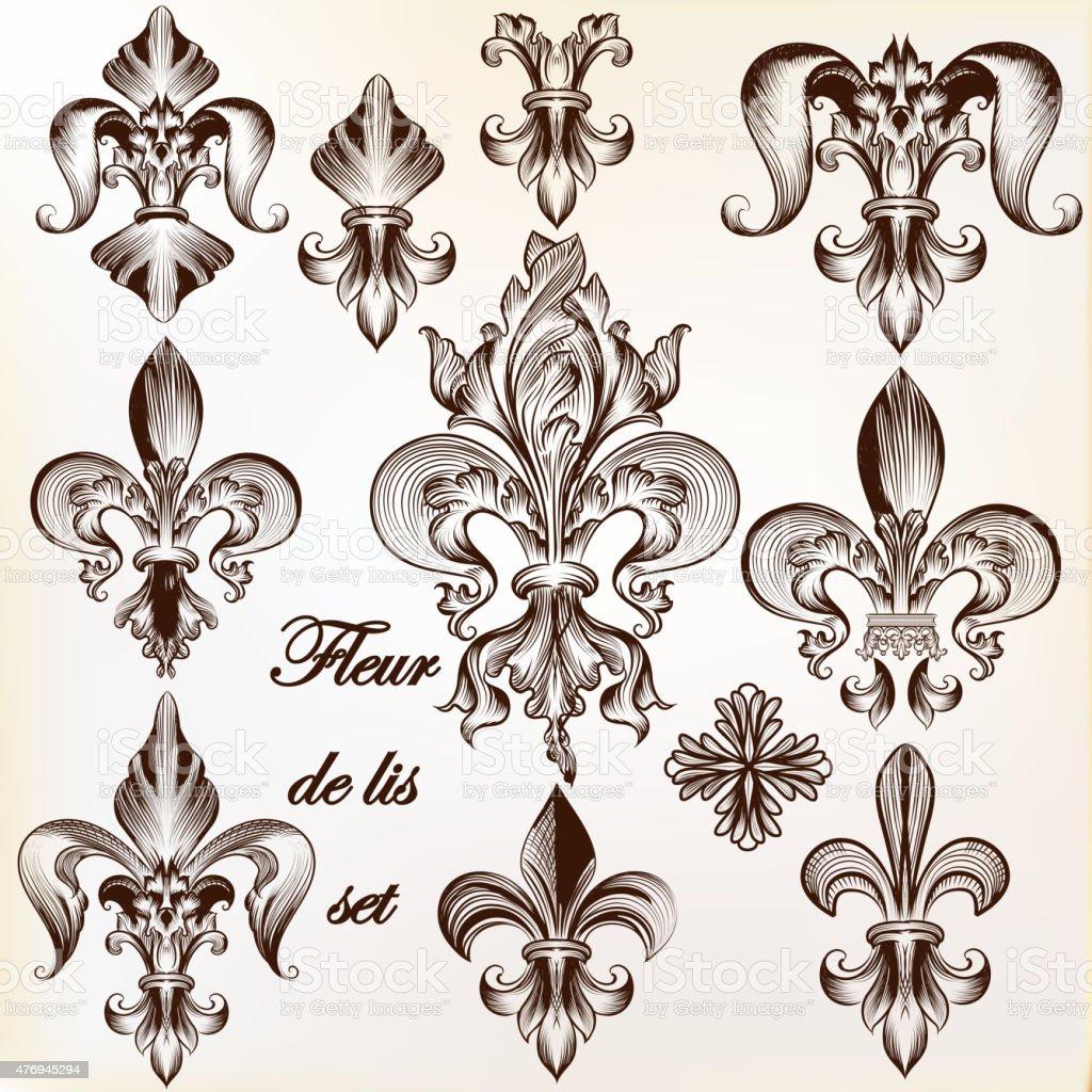 Collection of vector royal fleur de lis for design vector art illustration