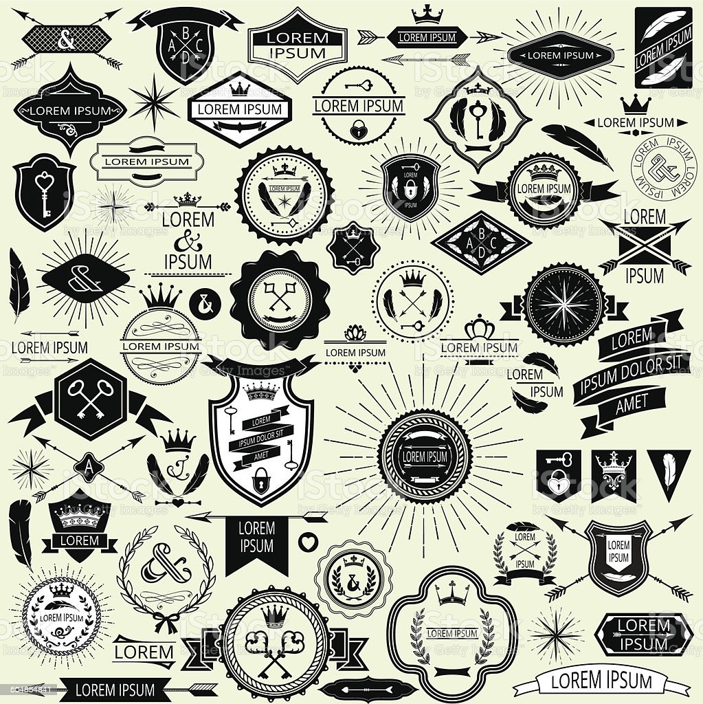Collection of vector vintage labels and stamps for design vector art illustration
