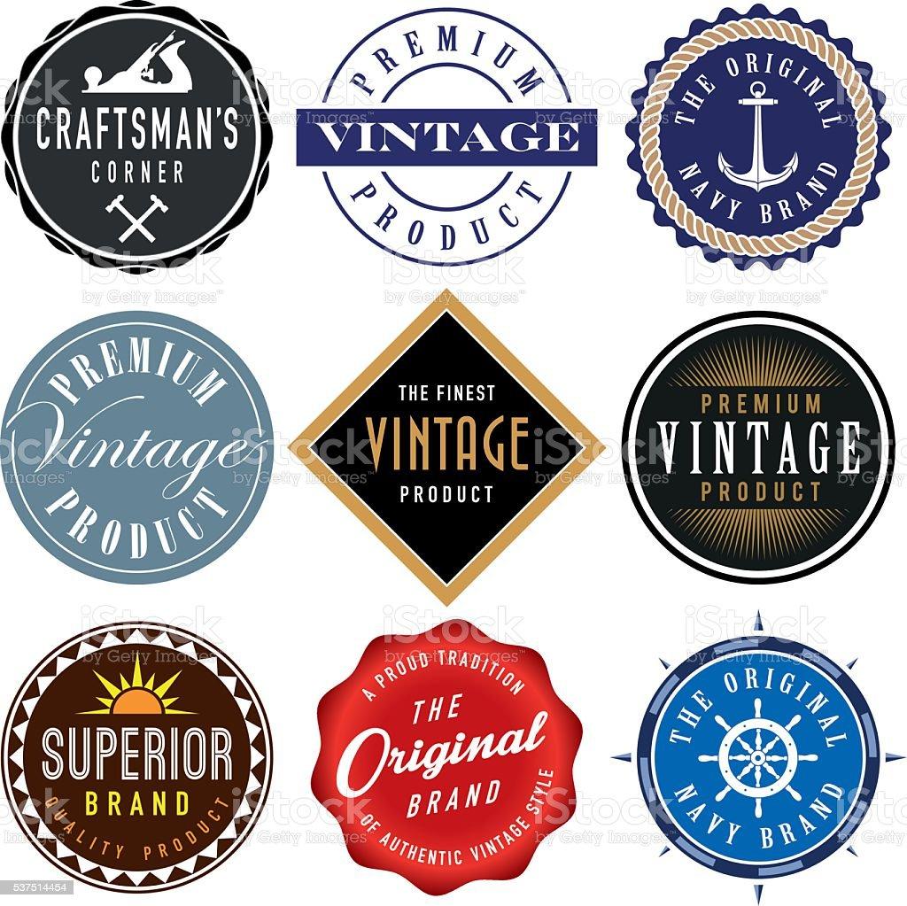 Collection of Vector Vintage Labels vector art illustration