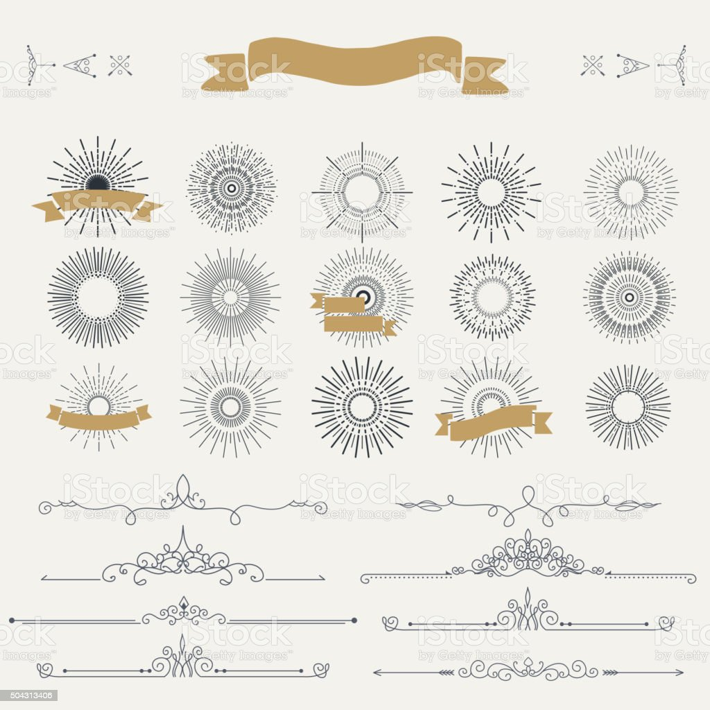 Collection of vector vintage patterns vector art illustration