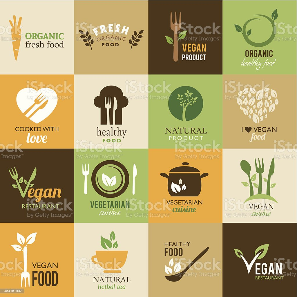 Collection of vegetarian and organic icons vector art illustration