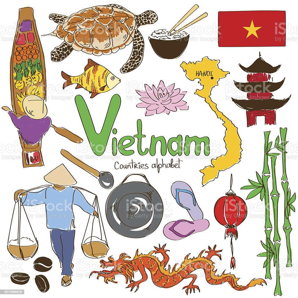 Collection of Vietnamese icons vector art illustration