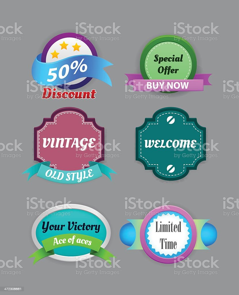Collection of vintage colorful design labels royalty-free stock vector art
