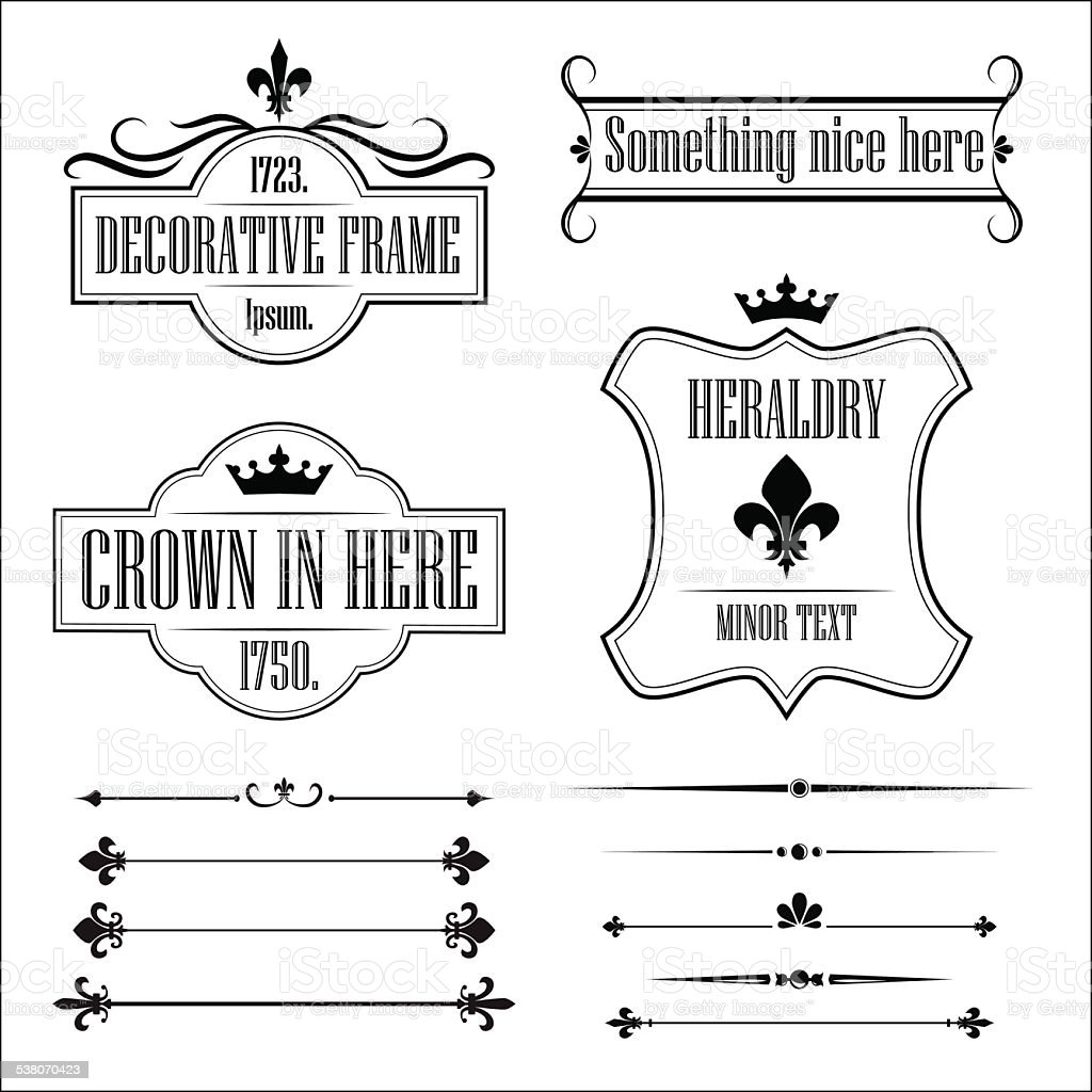 Collection of vintage frames, borders and deviders vector art illustration
