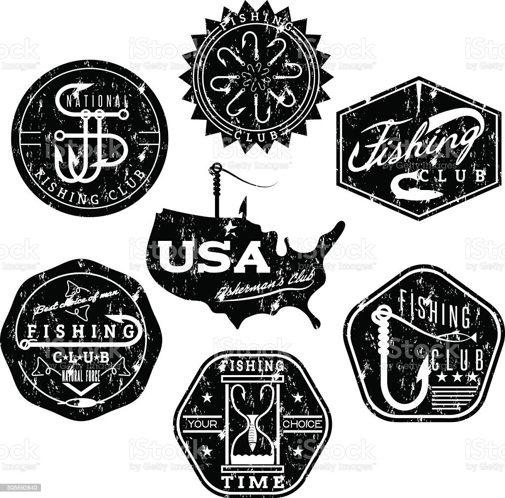 collection of vintage grunge labels on fishing theme vector art illustration