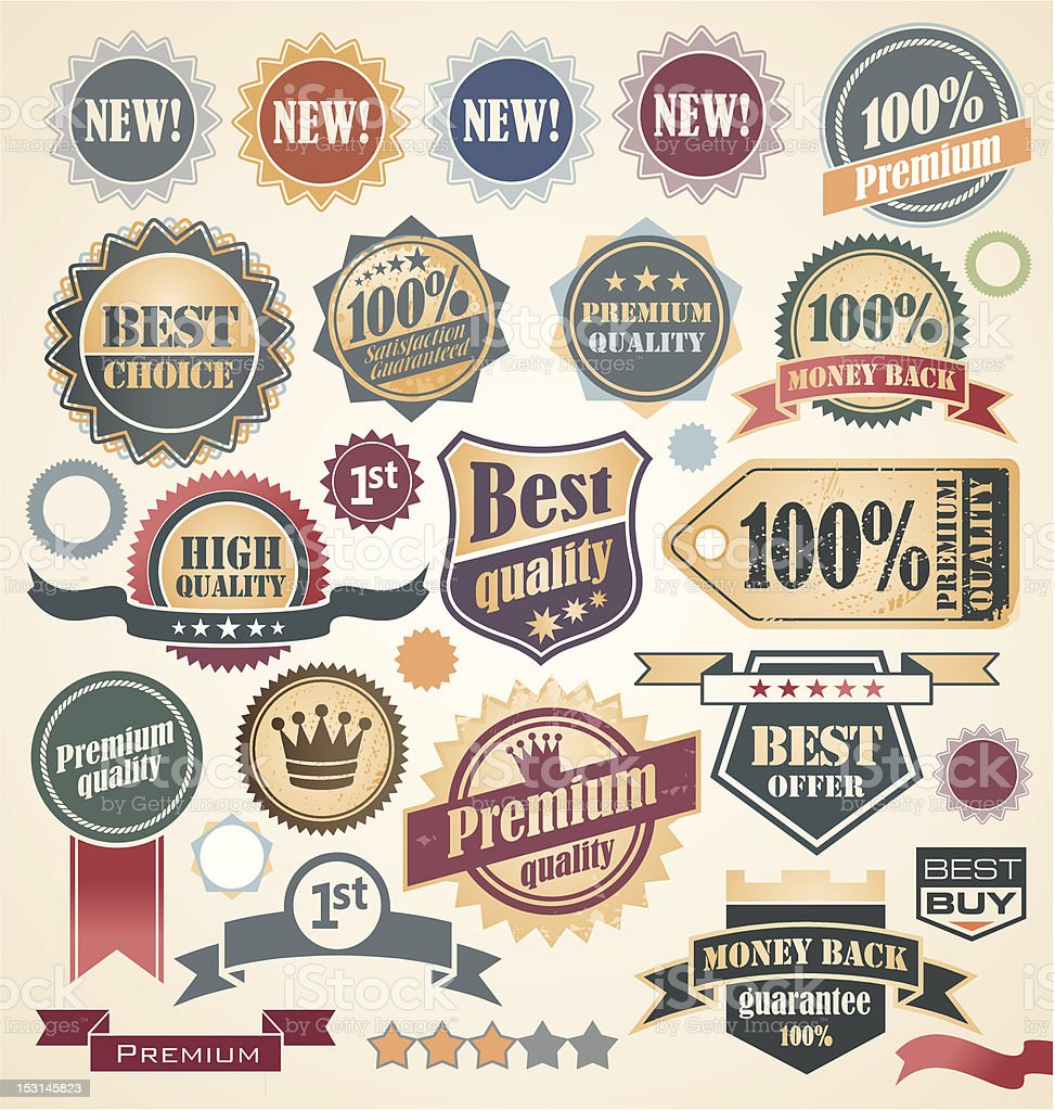 A collection of vintage labels royalty-free stock vector art