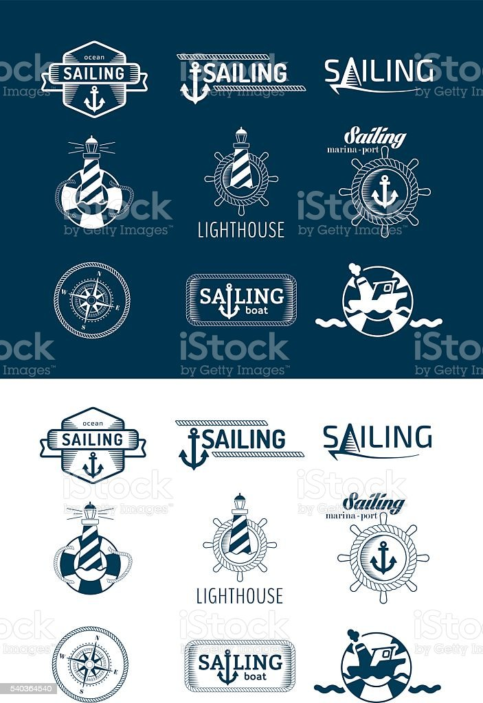 collection of vintage nautical badges and icons vector art illustration
