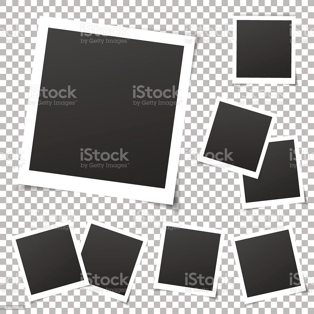 Collection of vintage photo frames. Old photo frame, transparent shadow. vector art illustration