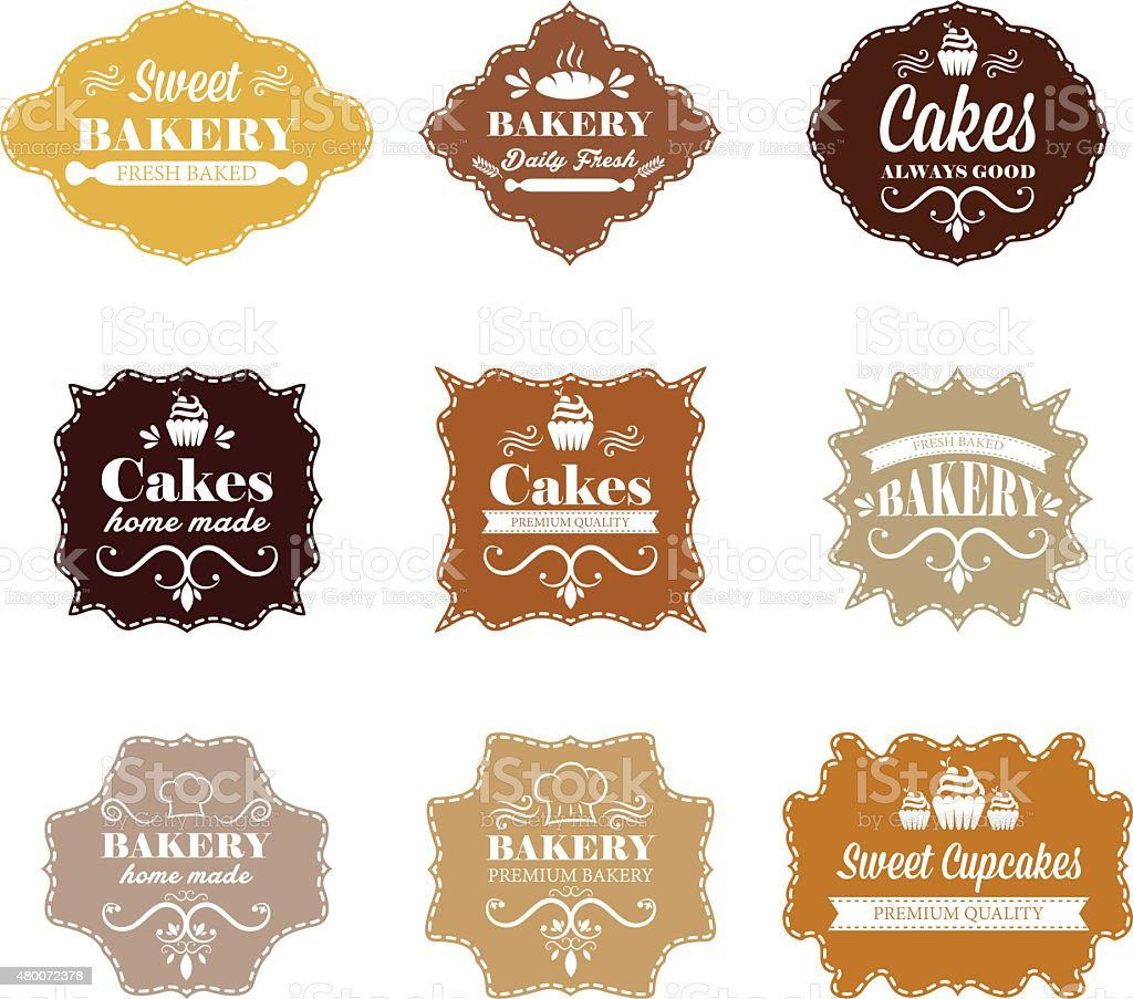 Collection of vintage retro bakery labels vector art illustration
