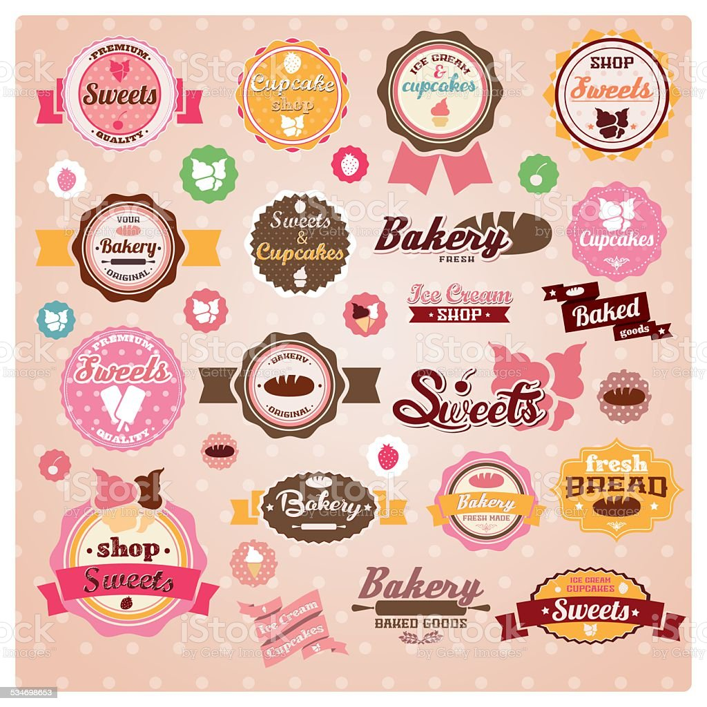 Collection of vintage retro ice cream and cupcake labels vector art illustration