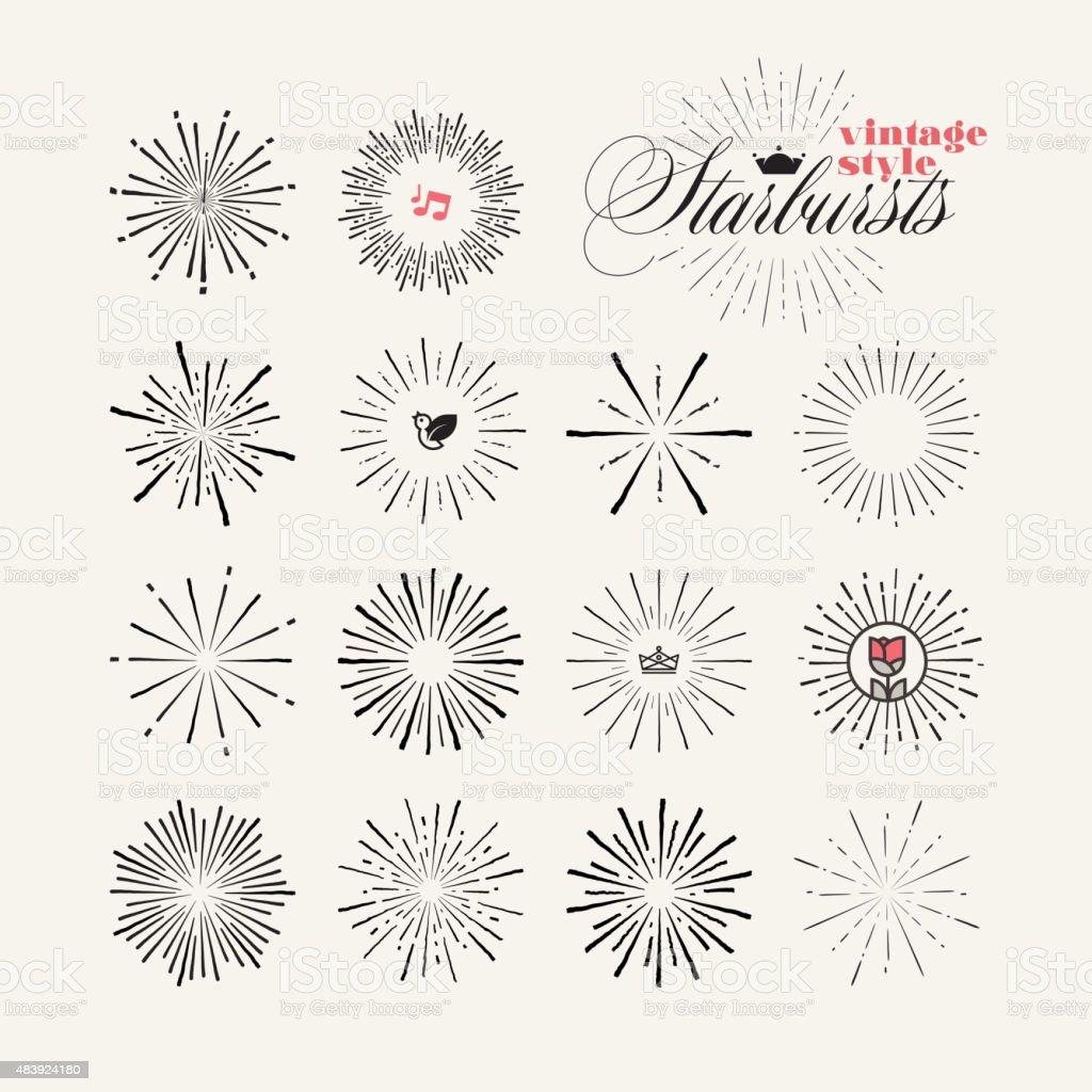 Colección de estilo vintage starburst de elementos dibujados a mano illustracion libre de derechos libre de derechos