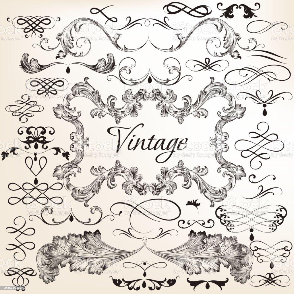 Collection of vintage vector decorative elements vector art illustration