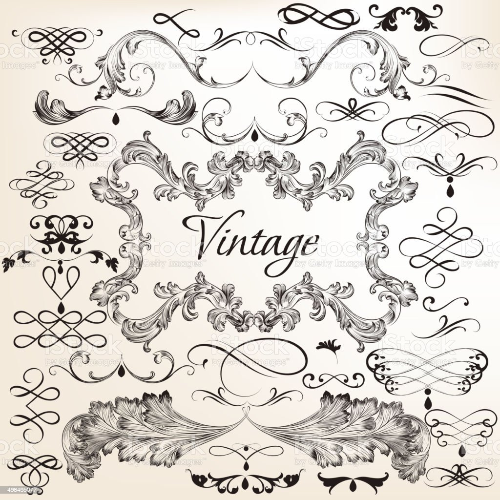 Collection of vintage vector decorative elements vector art illustration