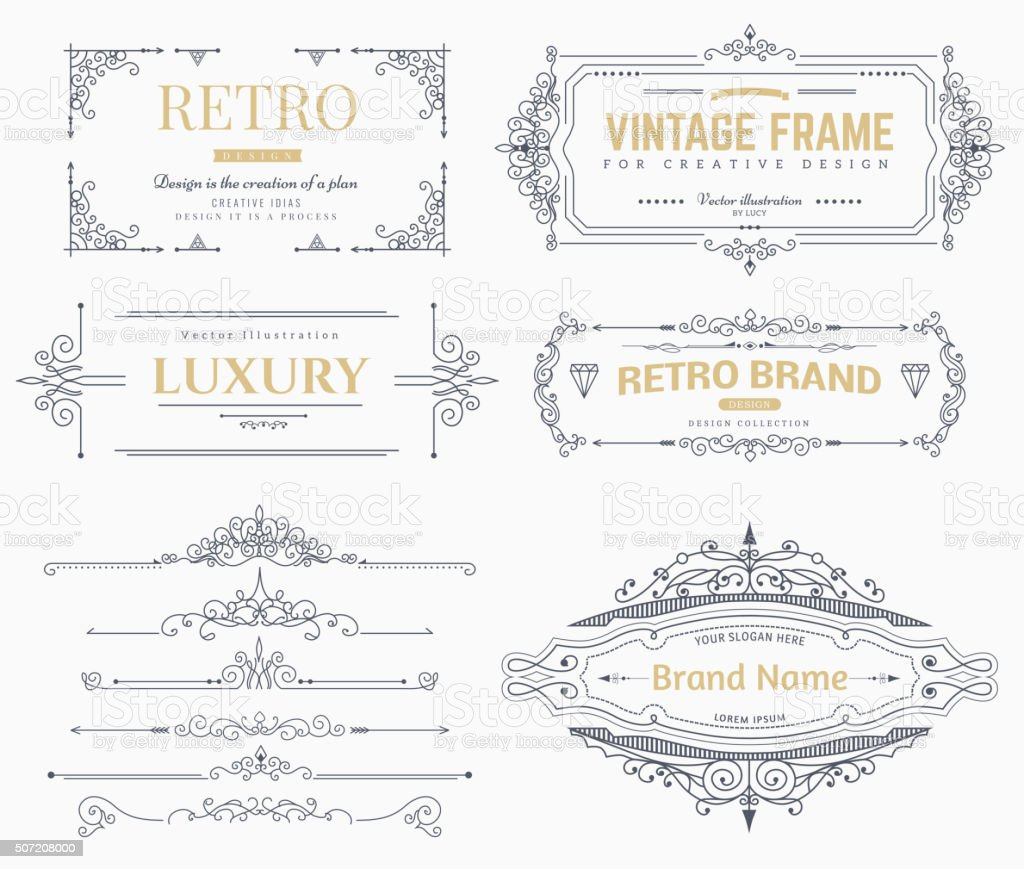 Collection of vintage vector patterns. vector art illustration