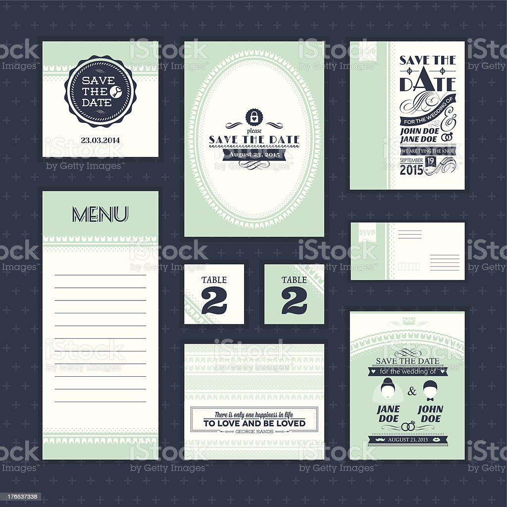 Collection of vintage-looking wedding cards royalty-free stock vector art