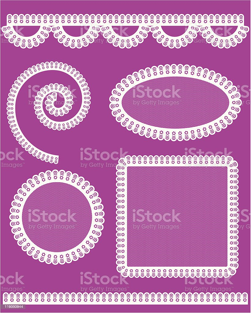 Collection of wedding lace napkins royalty-free stock vector art
