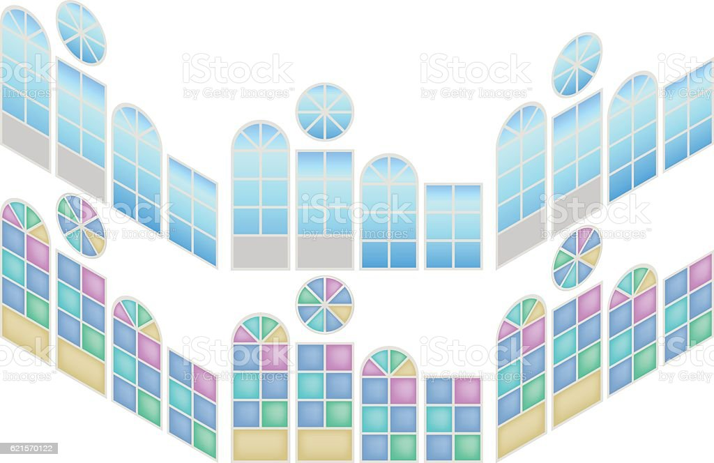 Collection of windows in isometric view vector art illustration