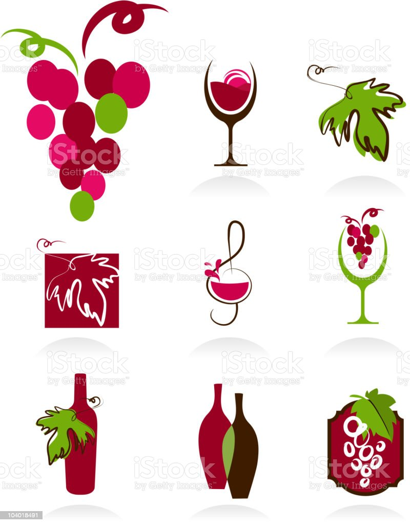 Collection of wine icons royalty-free stock vector art