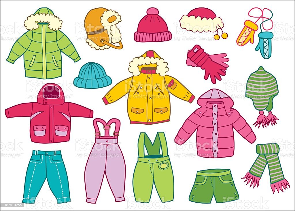 Collection of winter children's clothing in white background vector art illustration