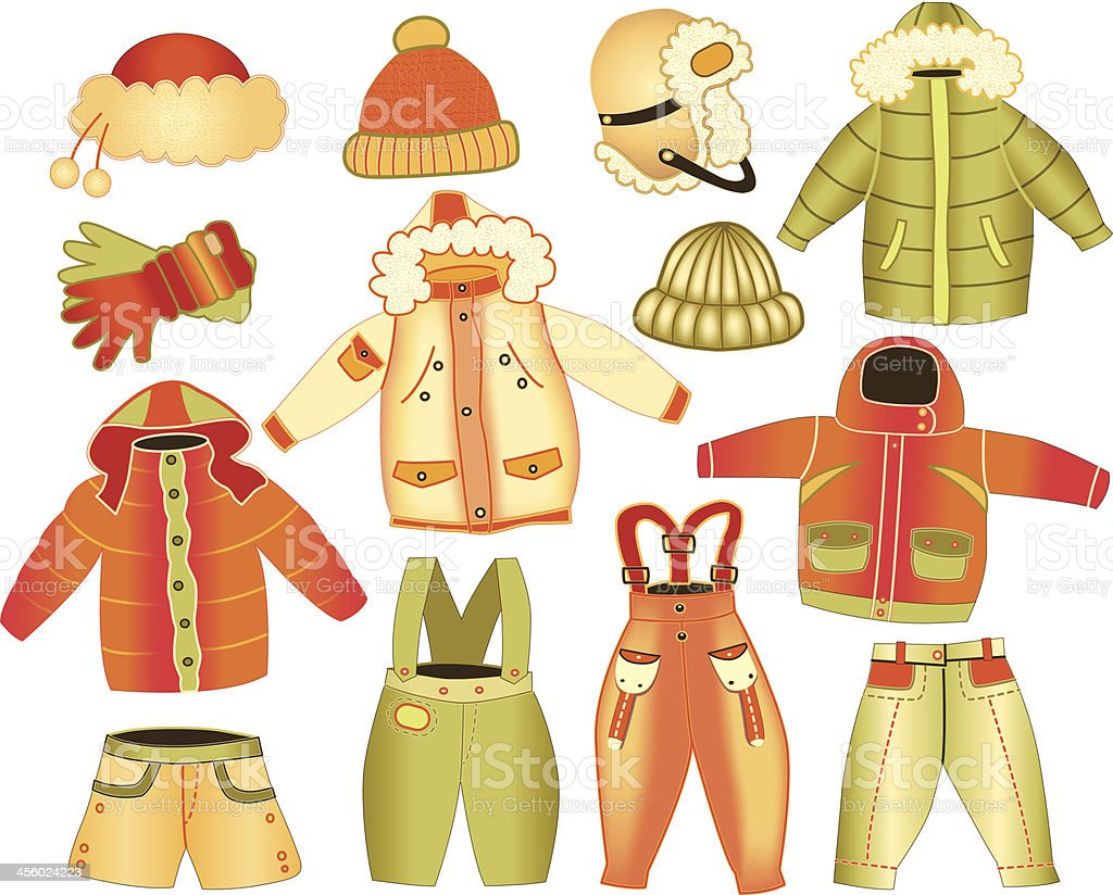 collection of winter children's clothing royalty-free stock vector art