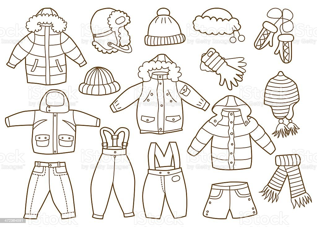 collection of winter children's clothing (coloring book) vector art illustration