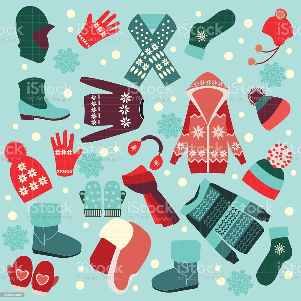 Collection of winter clothes and accessories. vector art illustration