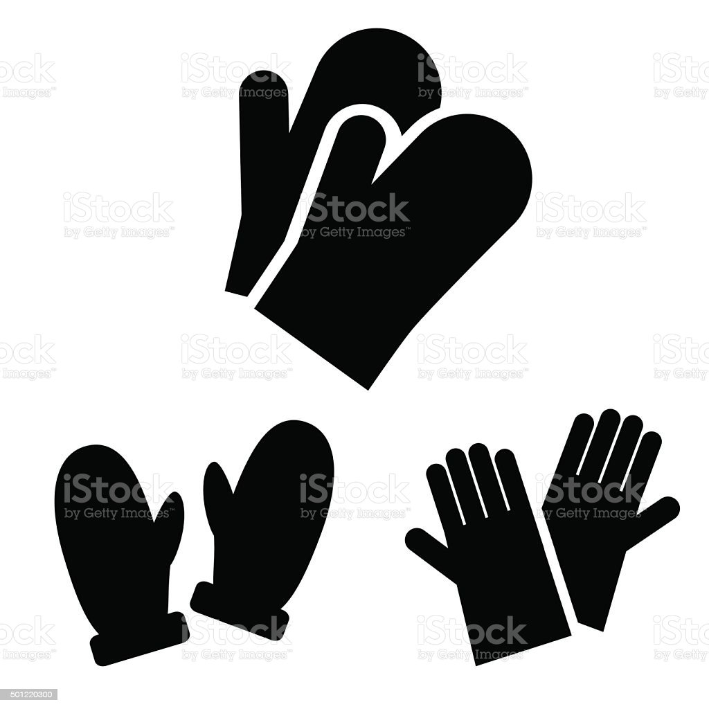 Collection of winter, protective gloves isolated on white background. vector art illustration