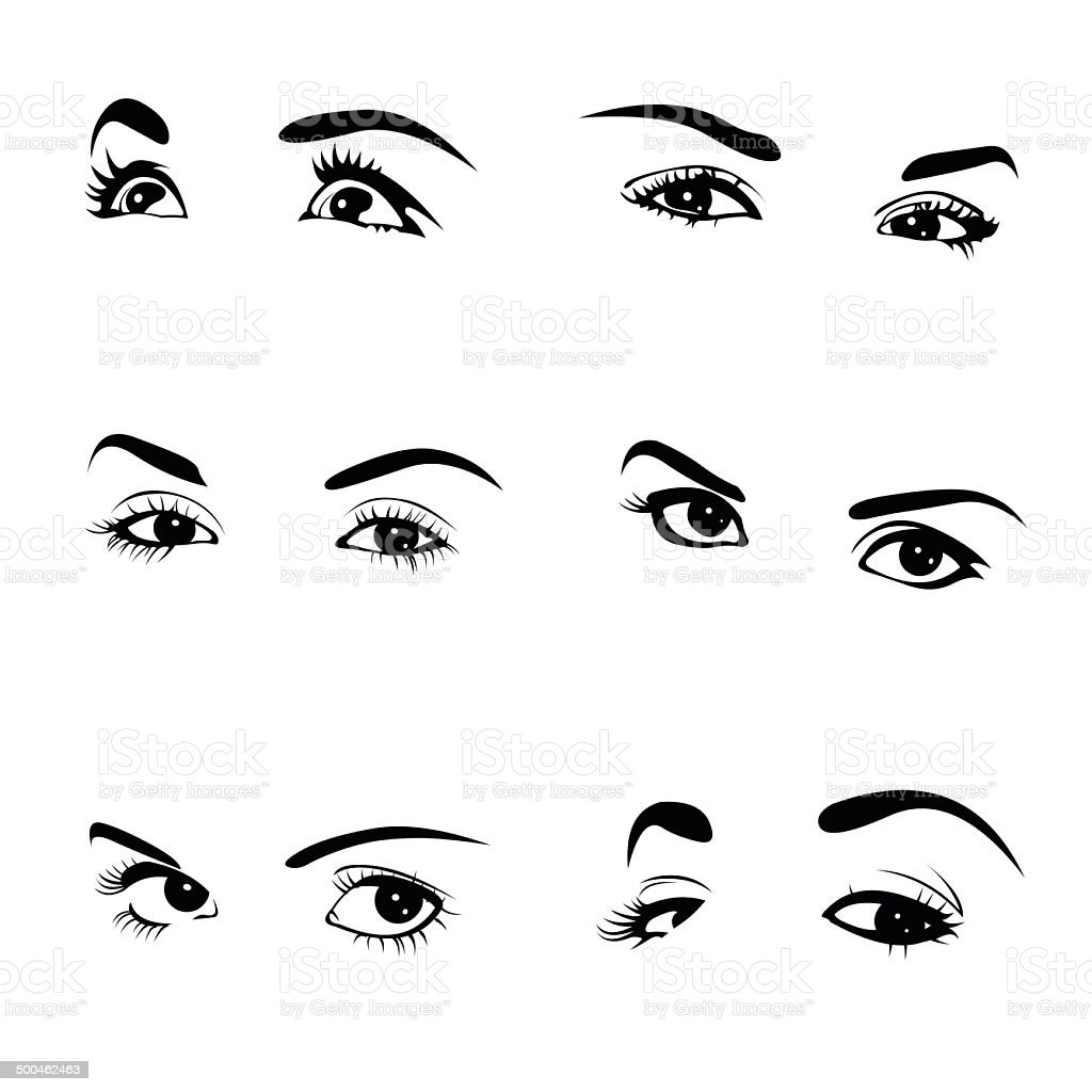 Collection of woman eyes vector art illustration