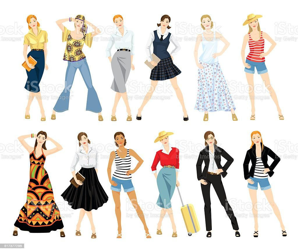 Collection of women in different clothes. vector art illustration