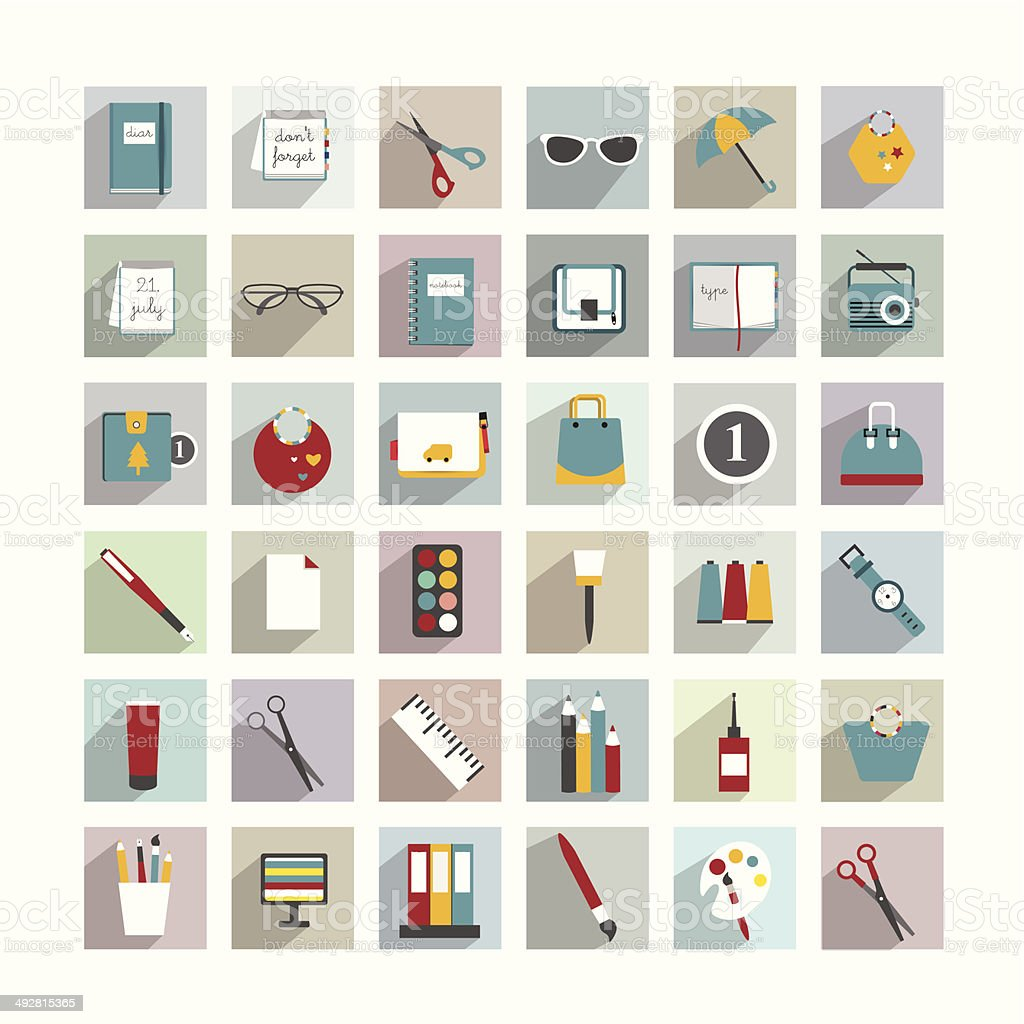 Collection of work office flat shadows icon. royalty-free stock vector art