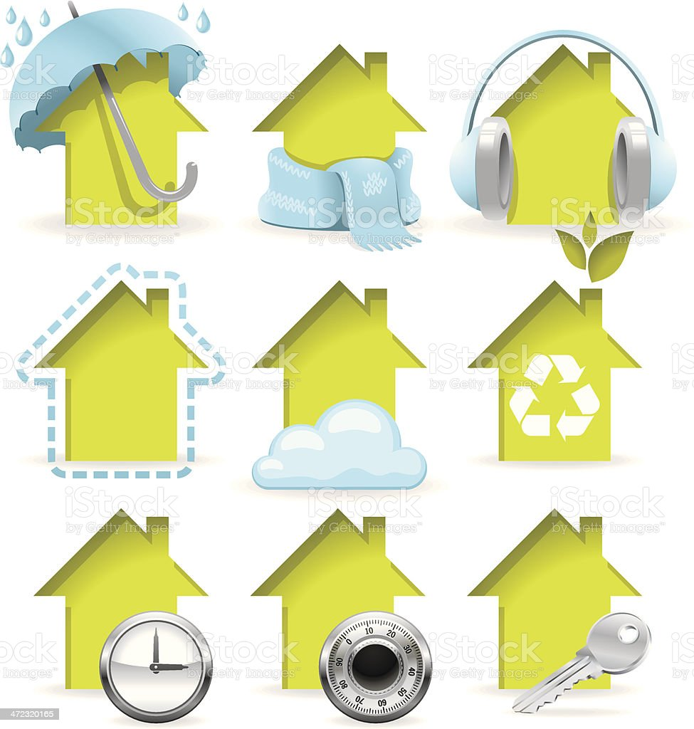 A collection of yellow housing icons vector art illustration
