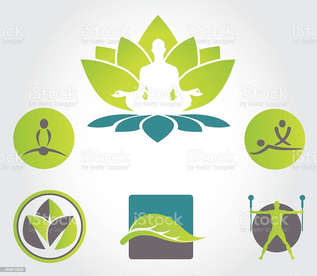 Collection of yoga, zen, meditation icons vector art illustration