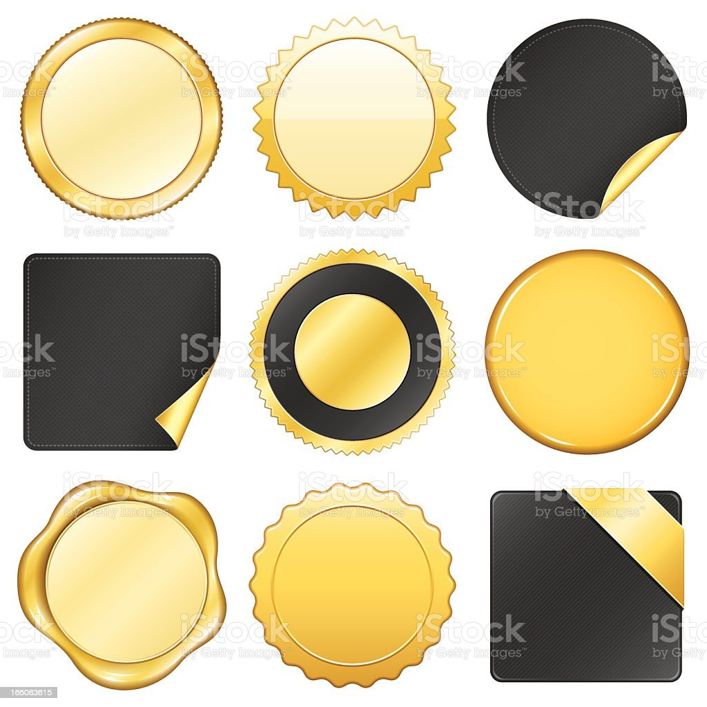 Collection on nine varying gold and black labels vector art illustration