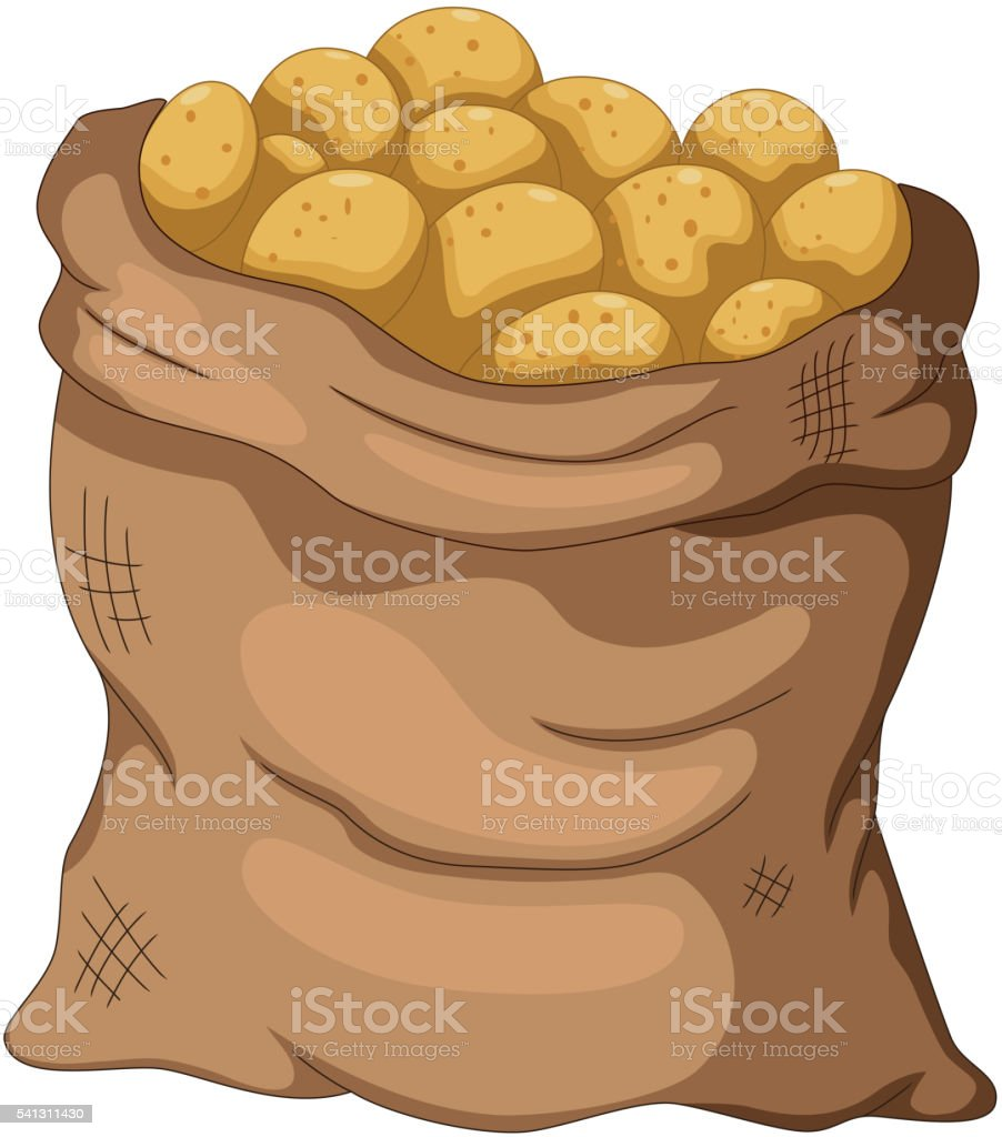 collection potato cartoon on the sack vector art illustration