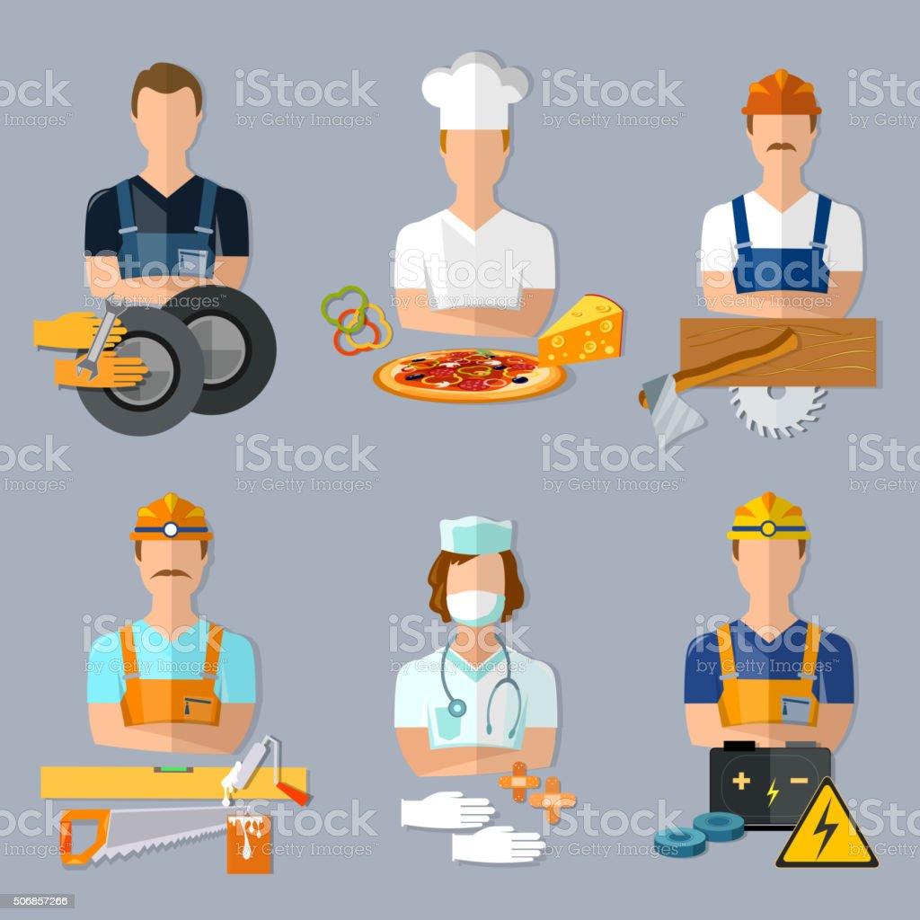 Collection professions set mechanic cook carpenter builder vector art illustration