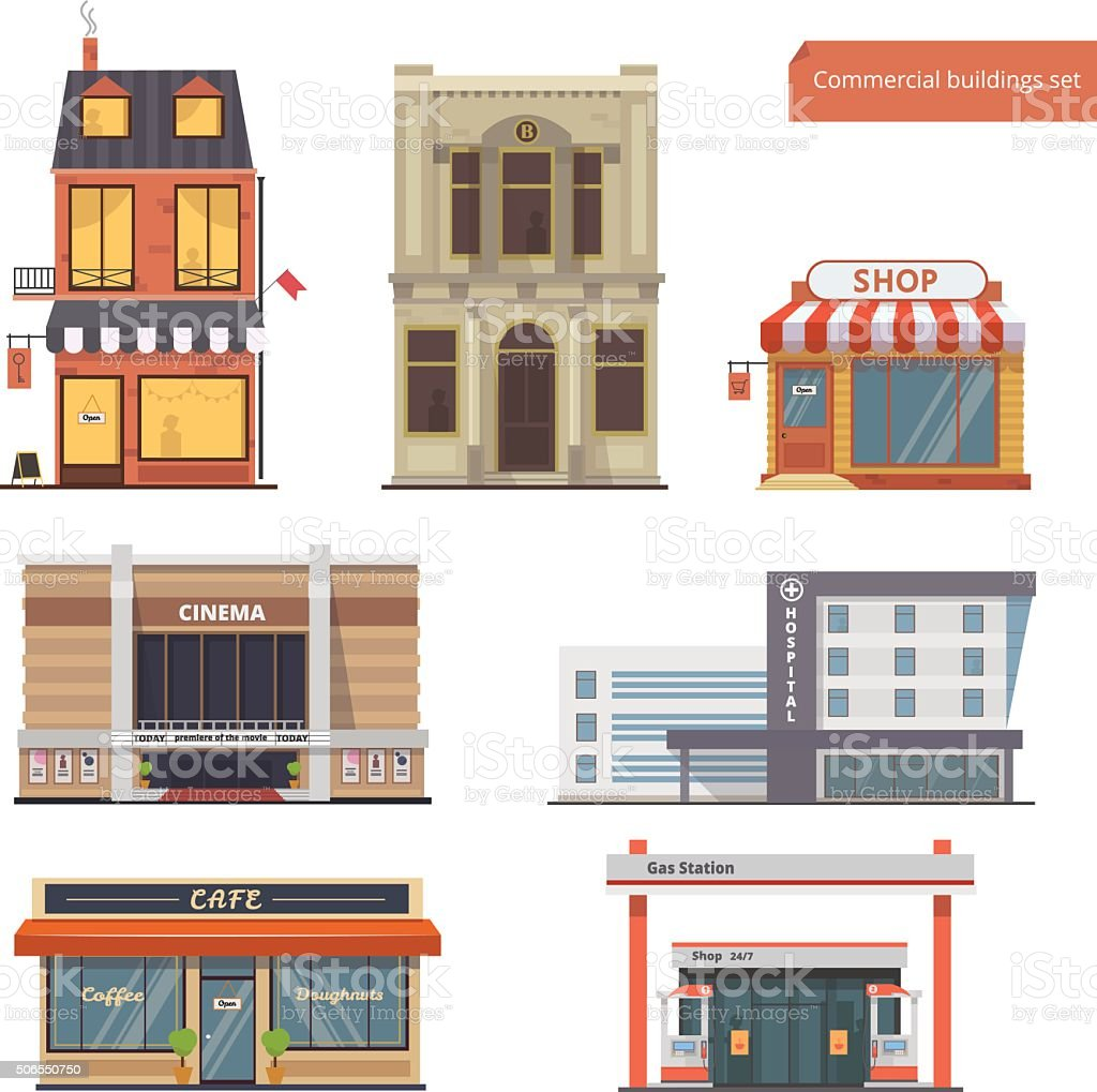 Collection Public Buildings.Bank,Hostel, Shop, Cinema, Hospital,Cafe vector art illustration
