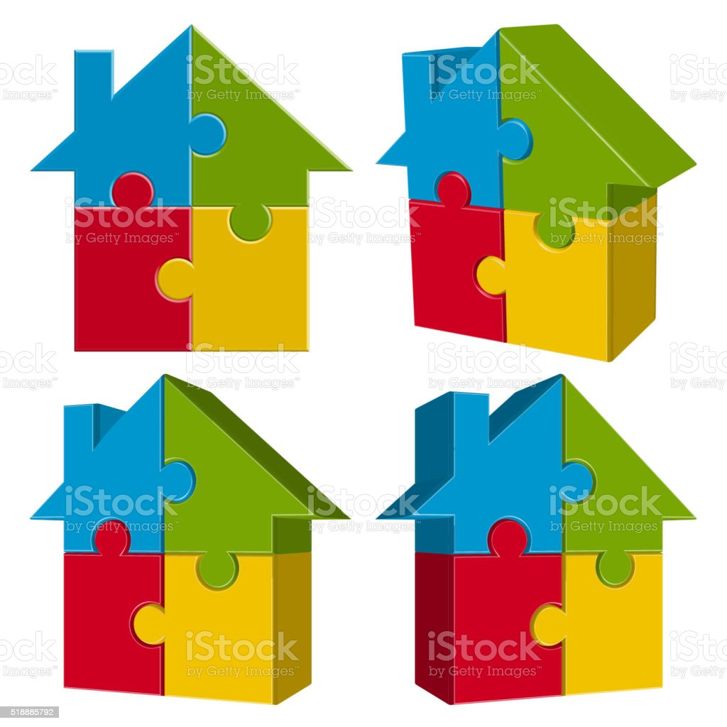 collection puzzle house with four parts vector art illustration