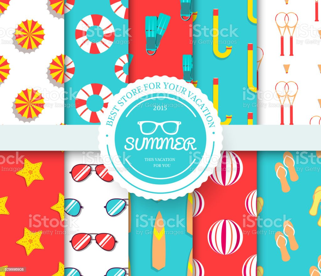 collection set of summer vacation seamless pattern. vector art illustration