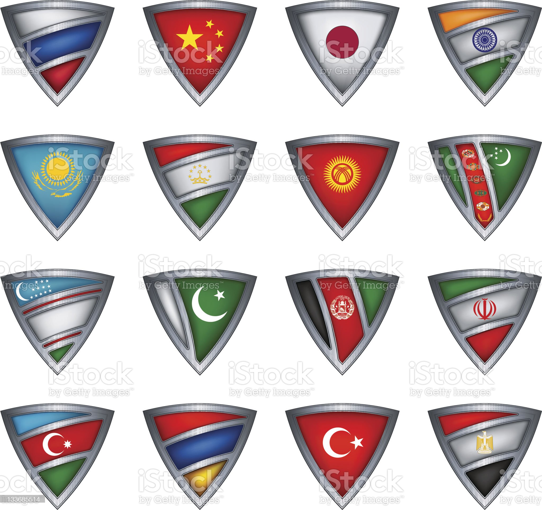 Collection shield with flag of the Asia royalty-free stock vector art