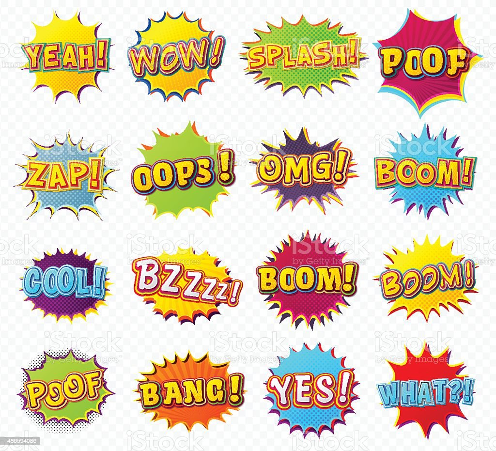 Collection speech bubbles and explosions in pop art style vector art illustration